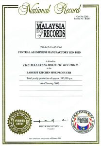 Malaysia Book of Records - Largest Kitchen Sink Producer 2006